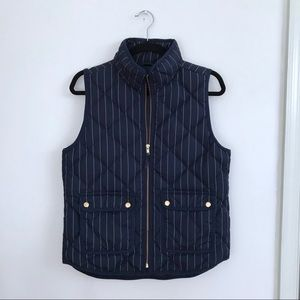 J. Crew Excursion Quilted Down Vest Pinstripe